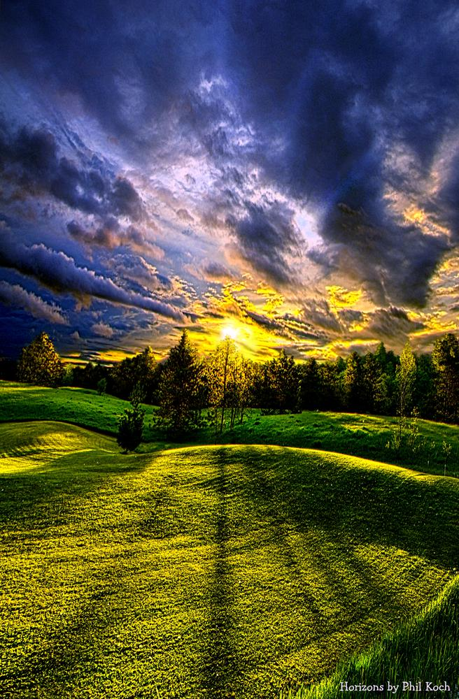 Photo in Landscape #sunrise #landscape #nature #fine art #trees #meadow #hills #rolling #travel #light #sun #cluds #sky #green #horizons #phil koch #wisconsin