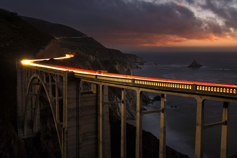 96s to Bixby - Bixby Bridge Light Trail, Big Sur CA by decastr5