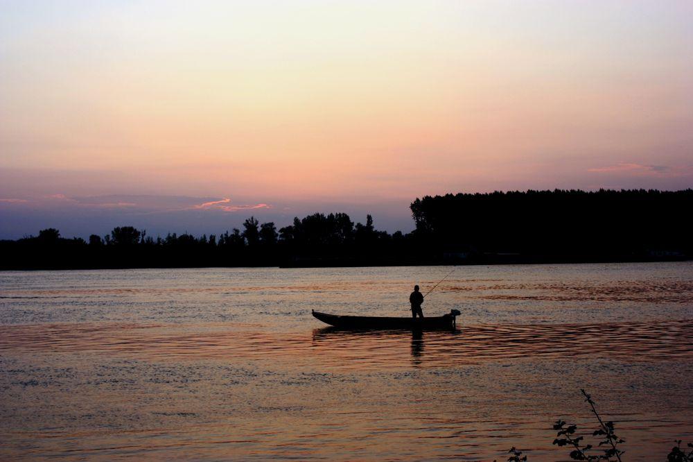 Dunav i ribar - Fisherman on the Danube by Rastko Bravo