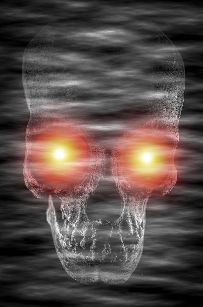 Upright-foggy-eyed-skull by Robert Nixon
