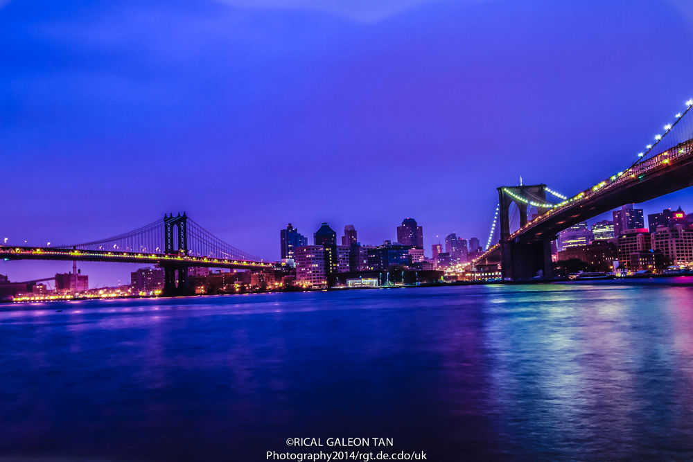 Manhattan and Brooklyn Bridge, USA by Rical Tan