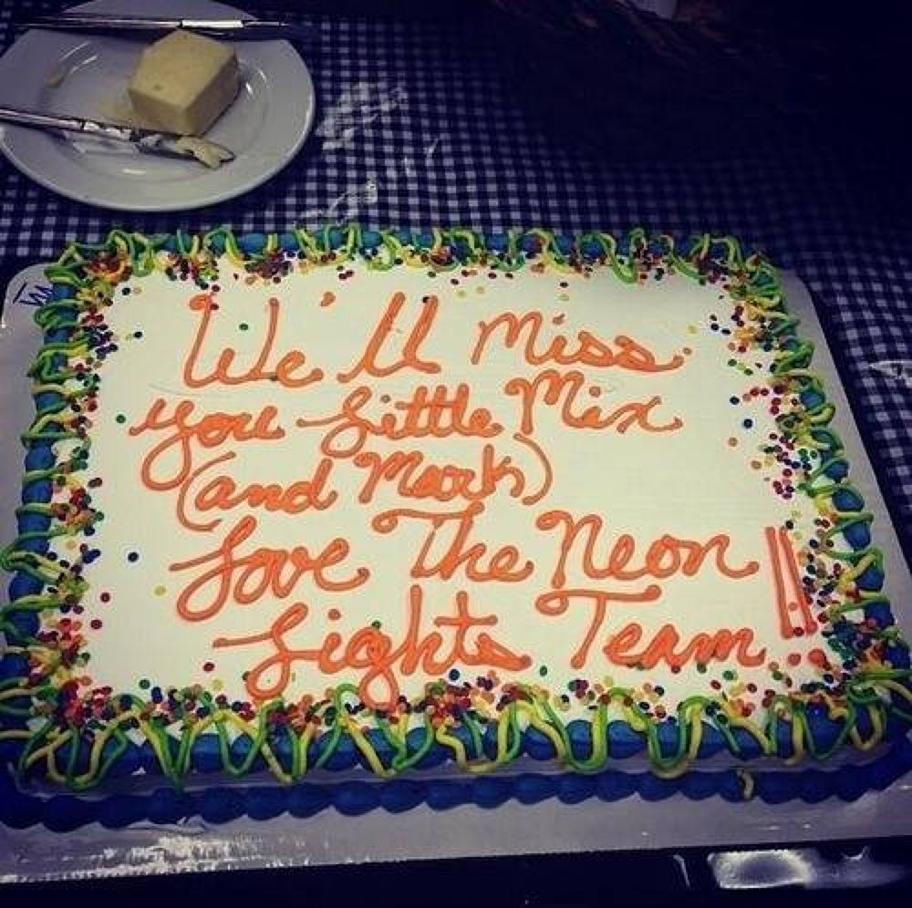 Thank you so much for this beautiful cake. #NeonLightsTour✌✌ by Perrie Edwards