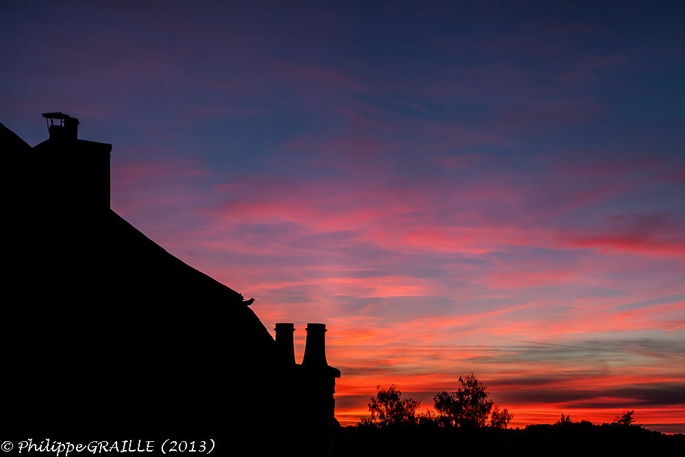 Sunset over Allassac by Philippe Graille