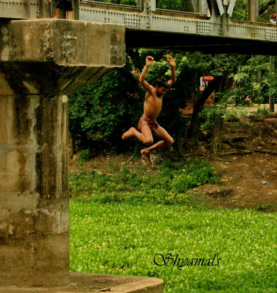 ADNETUROUS - JUMPING INTO RIVER FROM HIGH BRIDGE by ShyamalKBanik