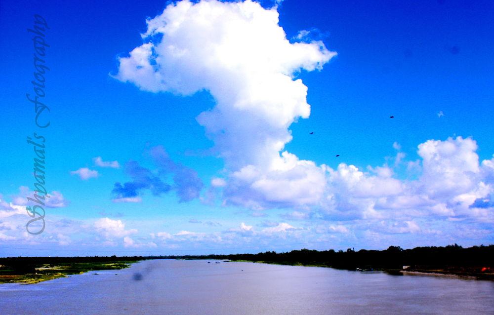 SKB-[5758]-AUTUMN SKY N RIVER VIEW by ShyamalKBanik