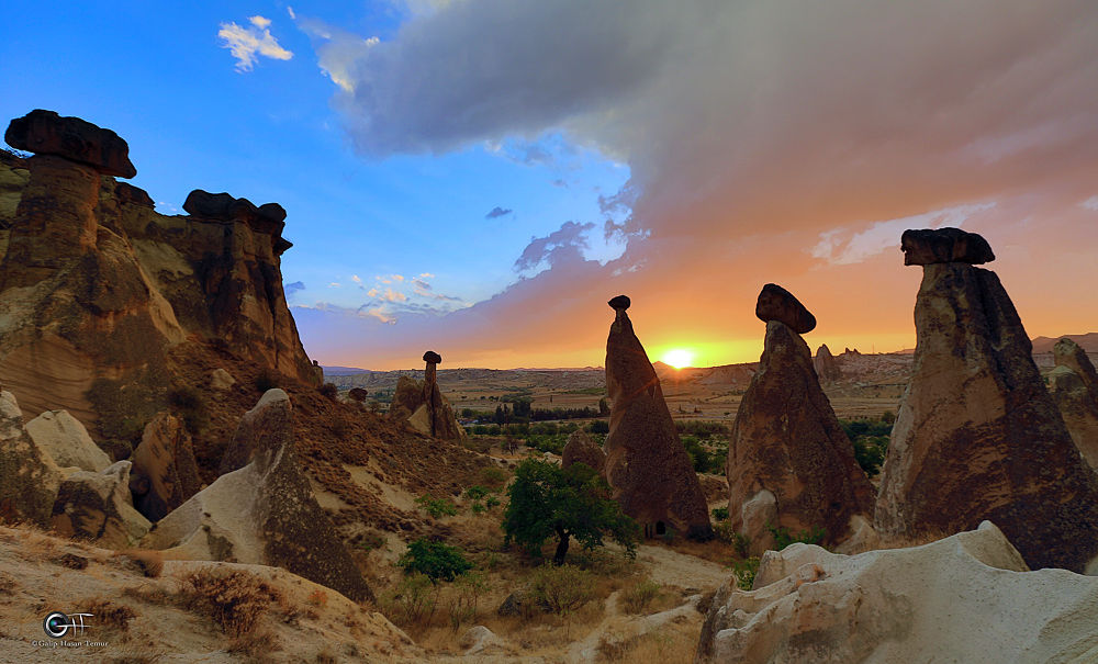sunset fairy chimneys by Galip Hasan Temur