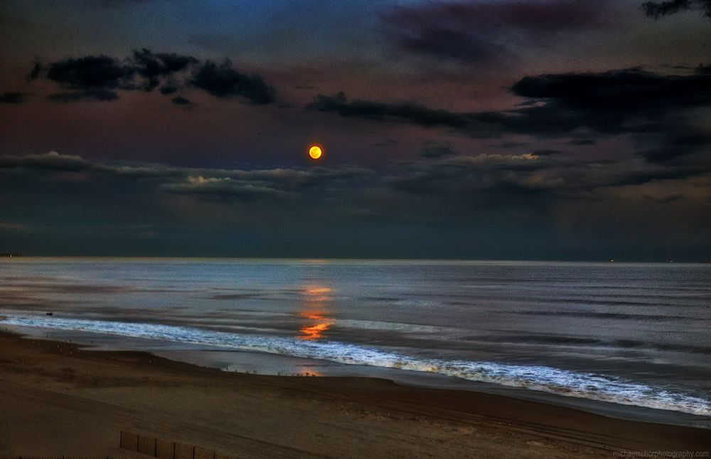 Moon Over Rockaway - Night-time magic at the beach by michaelschorphotography
