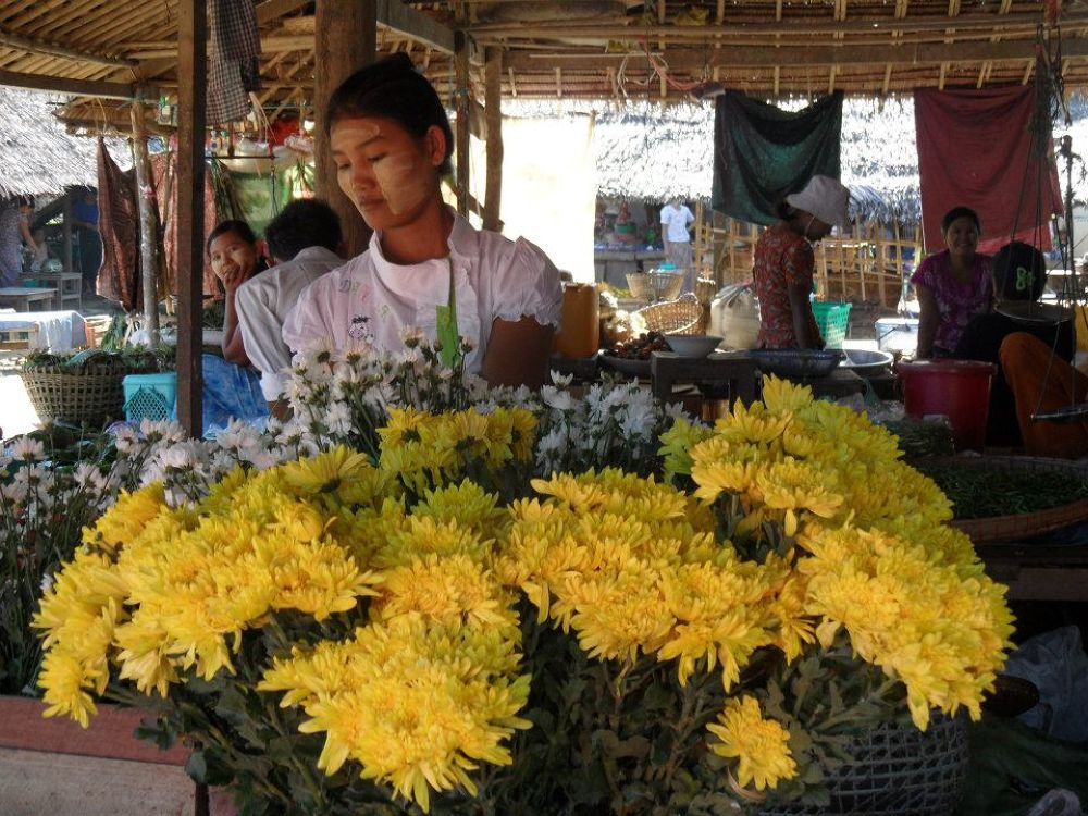 Flower seller. Gwa. Myanmar 2012 by gary whaley
