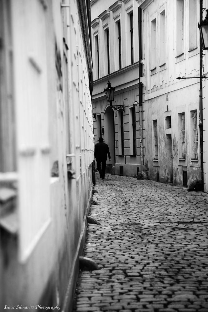 Alone in the streets of Prague. by Isaac Silman
