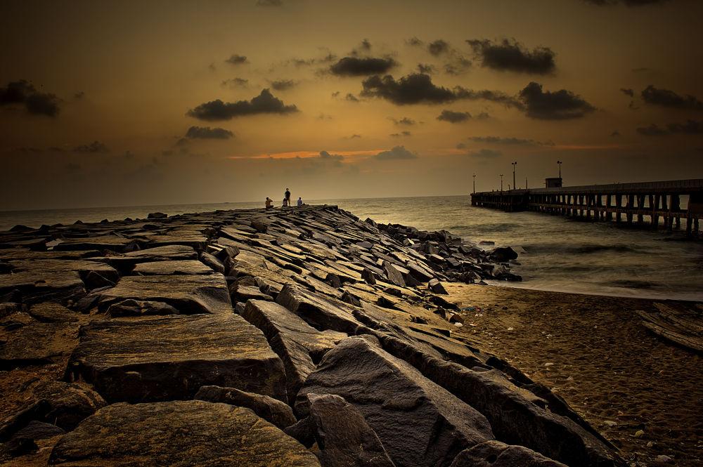 Pondicherry Beach at Dawn by Shivas Sivakumar