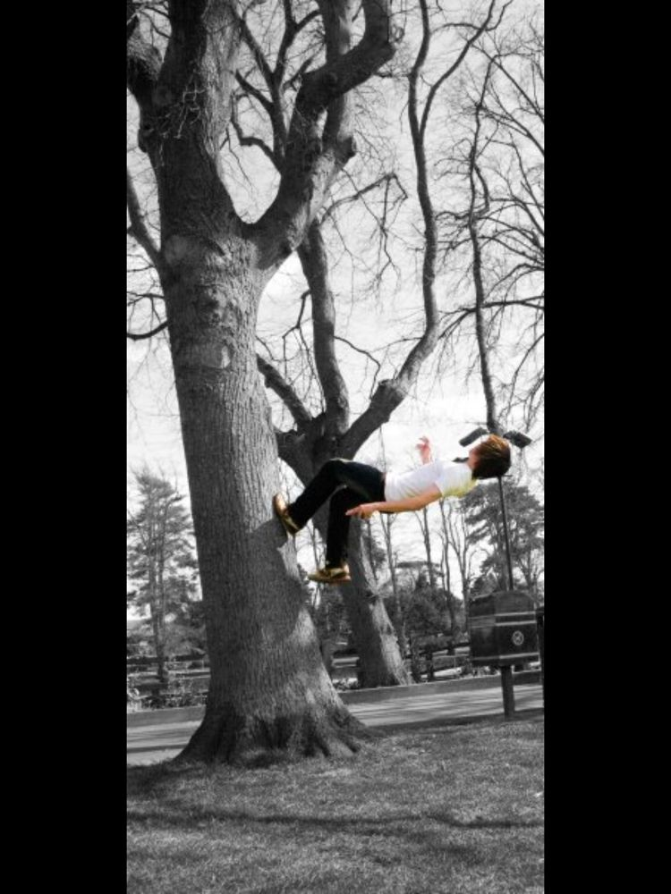 Back flip off a tree.....that's parkhour! by Rosie Thomson