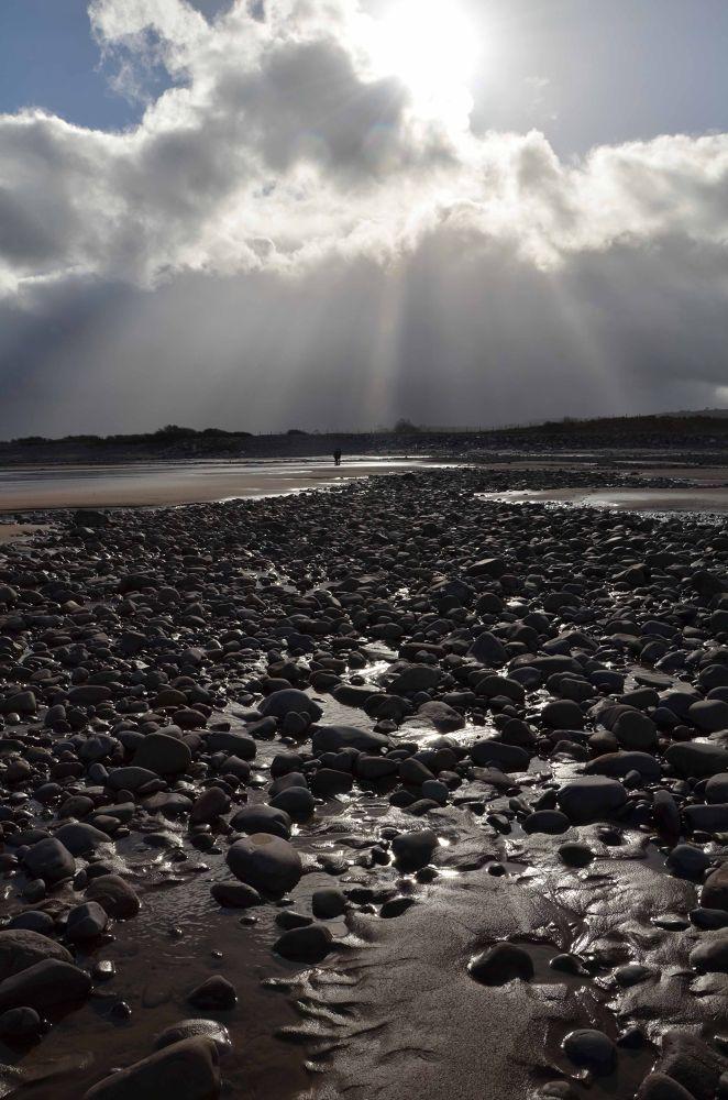 Stormy beach by Pamela Harridine