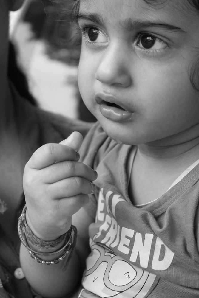Photo in Black and White #cute #little #angel #black #white #mouth #eyes #watching #nose #fingers #naughty #cunning #picnic #play #enjoy #edit #hair #wow