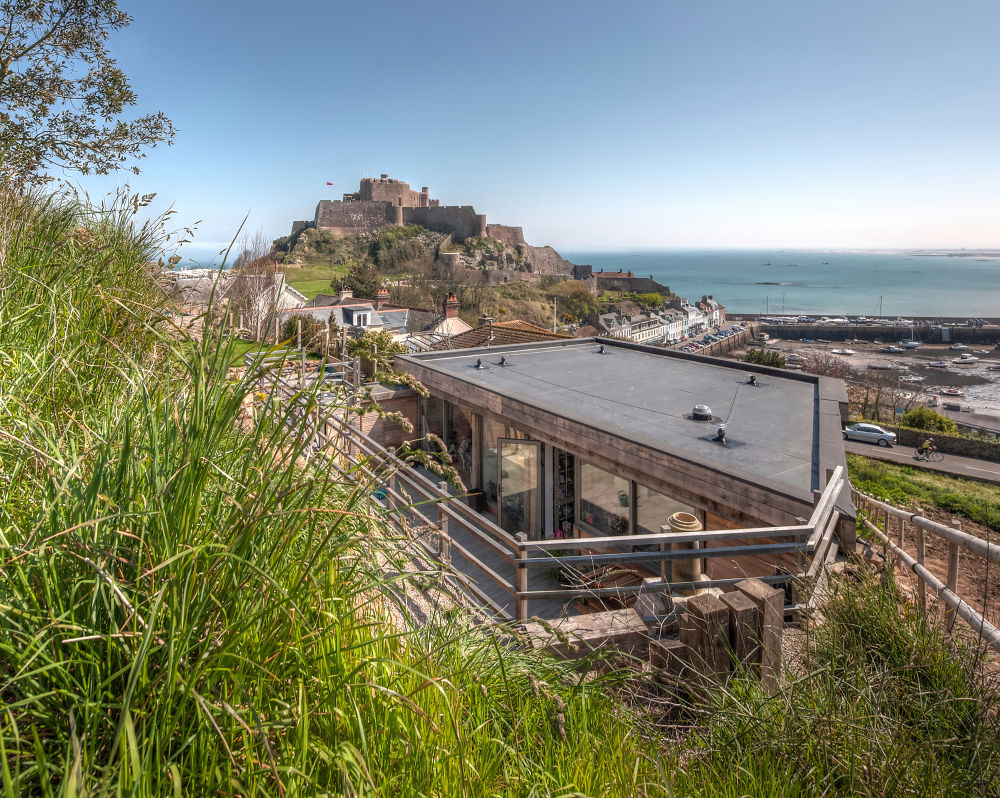 The Hill House from above with castle  by Patrick Clarke