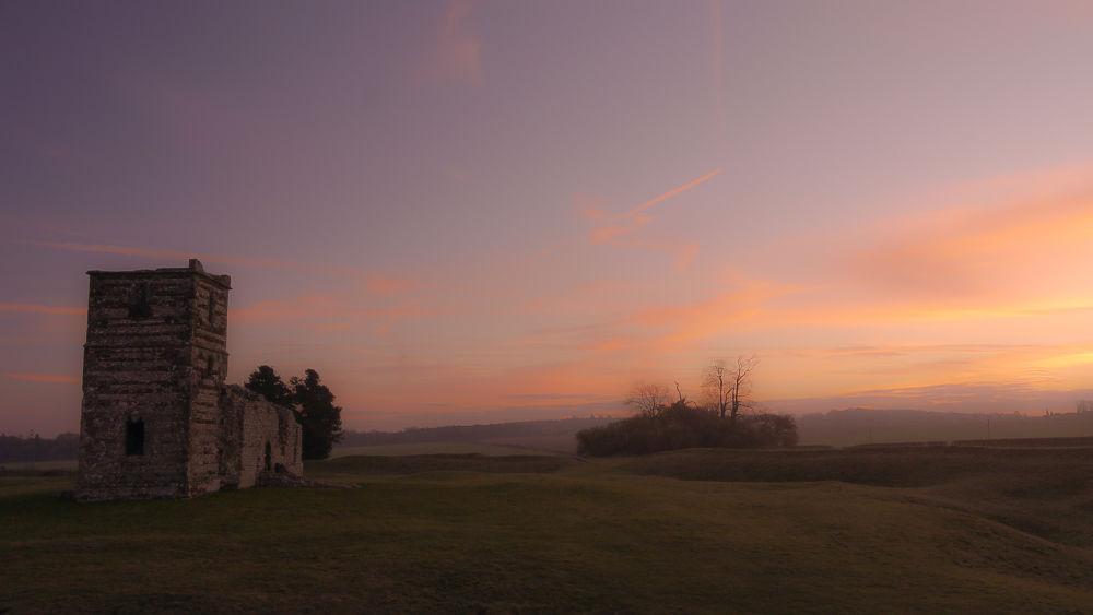 Ancient Knowlton Church Dawn by Sam Coatsworth