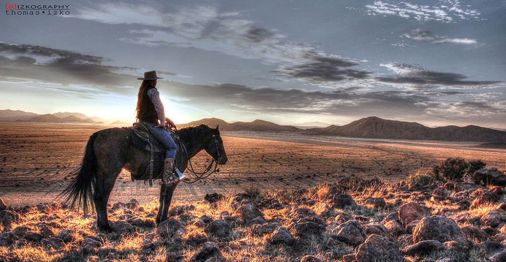 -cowgirl sunset scenery- by Thomas Izko
