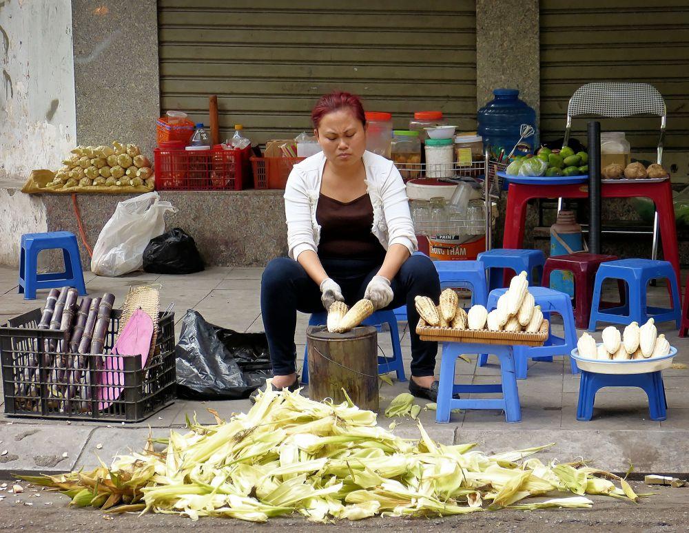 Hanoi . Corn cobs by marcosarli