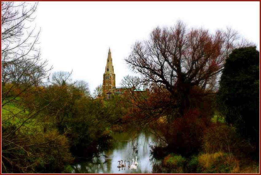 Kirby Bellars Church From The Bridge. by PhilB@10