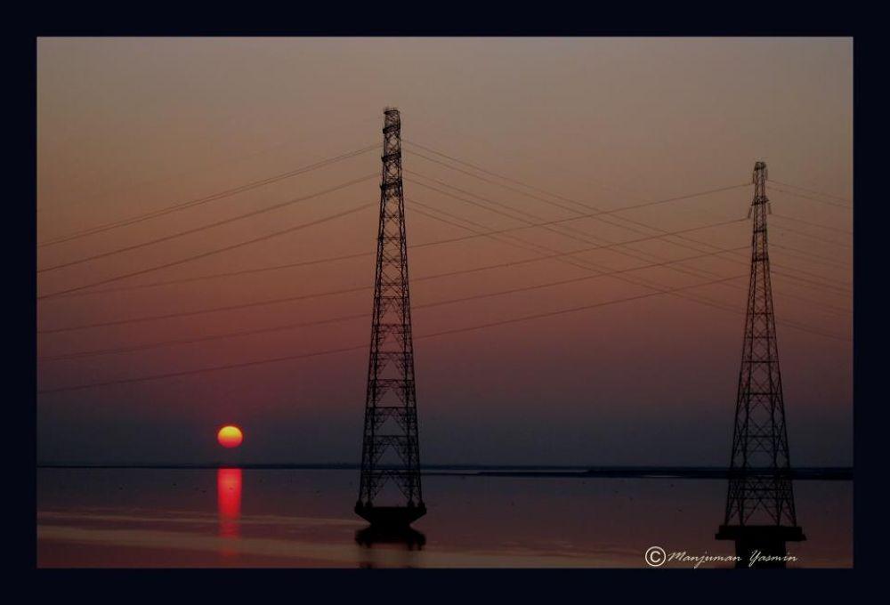 Sunset @Kaliabhomora Bridge,Nowgaon,Assam,India. by ManjumanYasmin