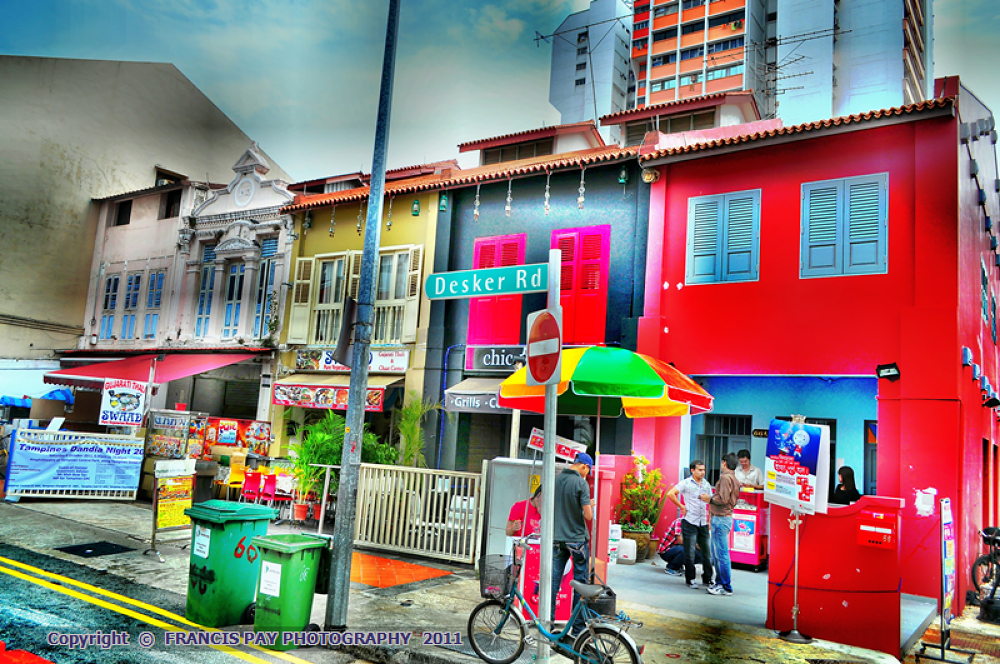 BACKLANE OF DESKER ROAD, SINGAPORE IN NOSTALGIC COLORS by francis8787