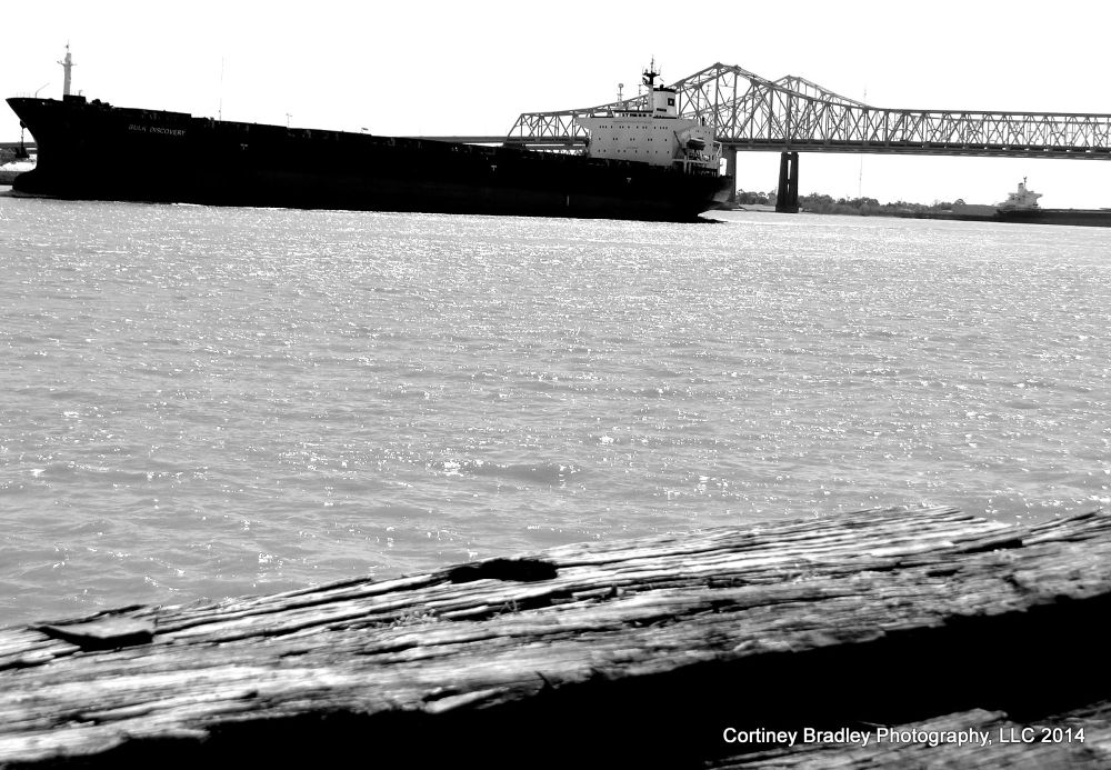 Barge on the Mississippi - New Orleans, LA by cortineybradleyphotography