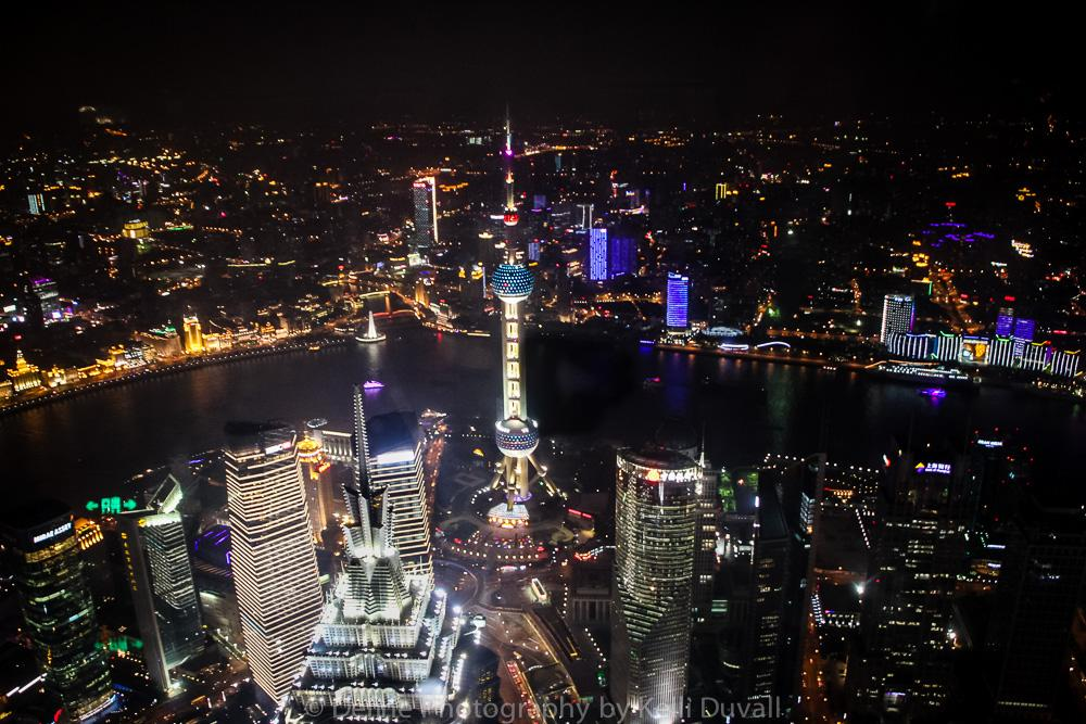 Pearl Tower and the Bund from Shanghai World Trade Financial Bldg by Kelli Duvall