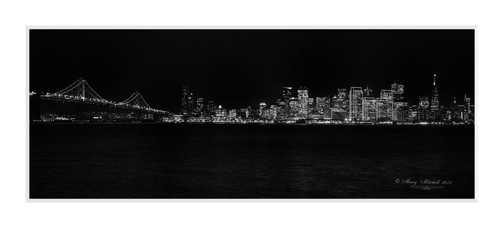Bay Bridge and SF at night BW by Mary Mitchell