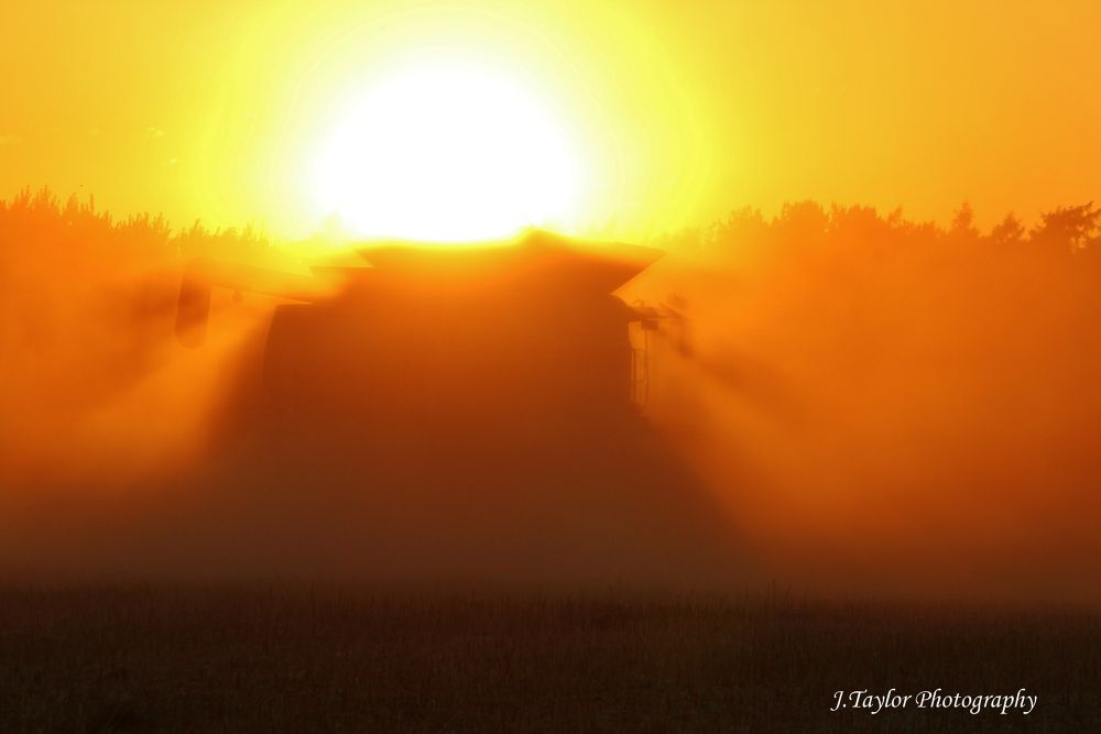 Sunset, Combine and dust  by Jordan Taylor
