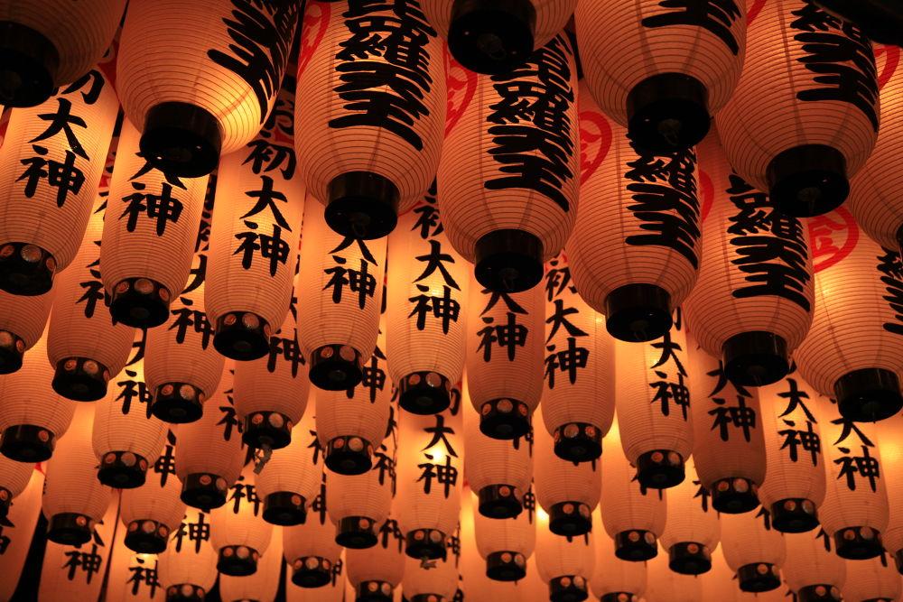 Lanterns at the Mitsu Shrine by Ben Soden