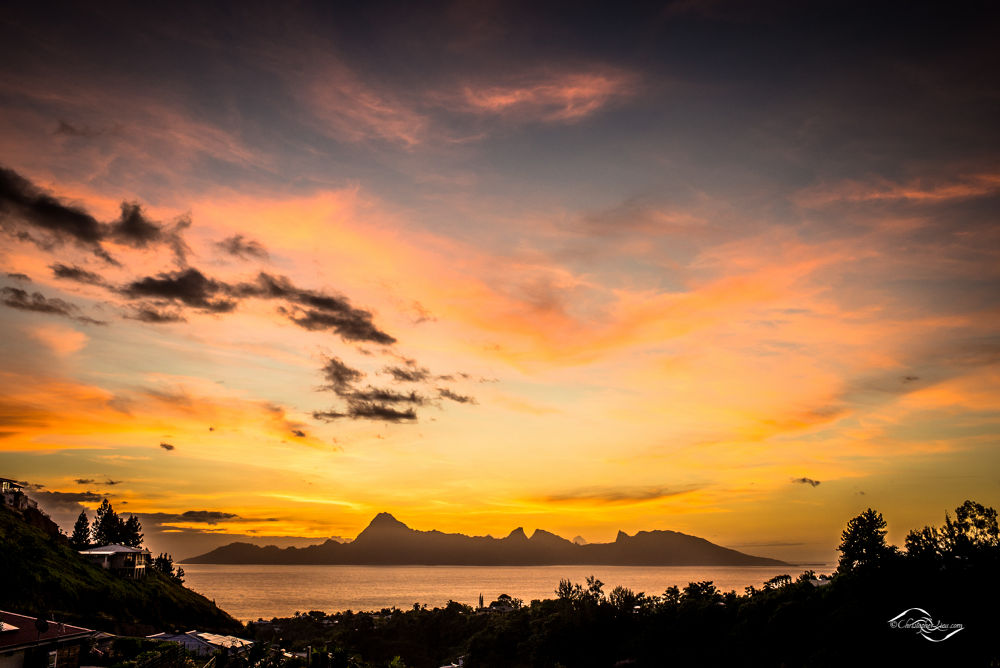 Sunset from Tahiti (Pacific Island) by Christopher Liau