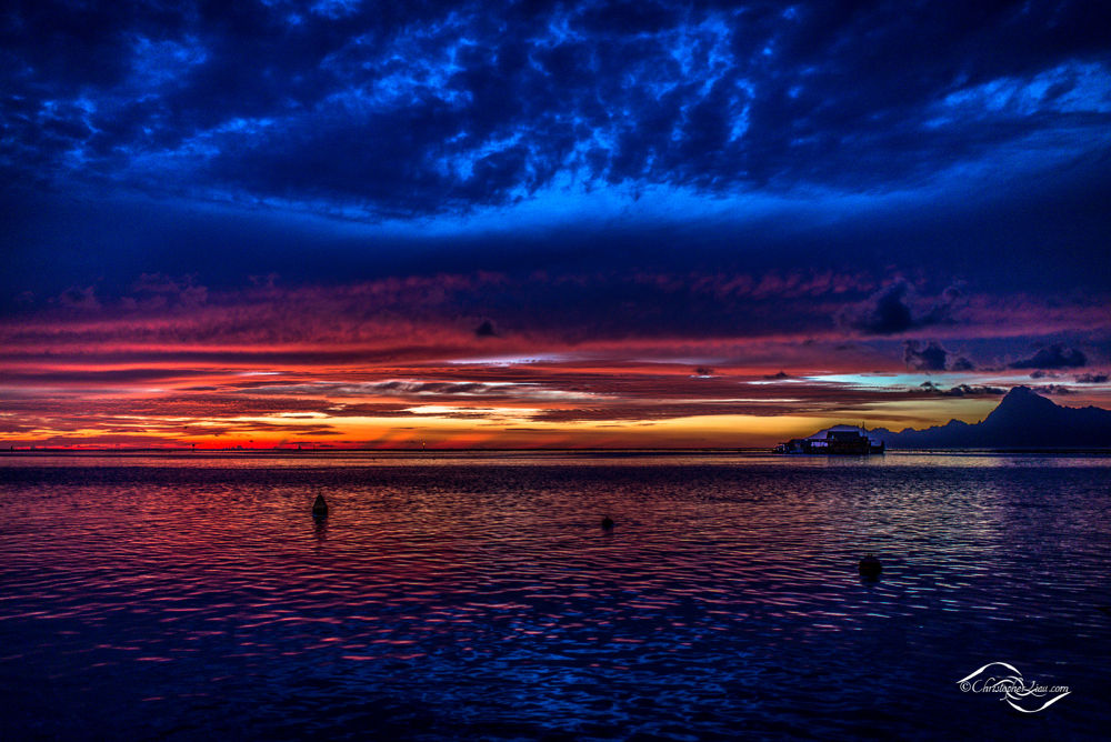 Golden VS Blue Hour - French Polynesia Sunset by Christopher Liau