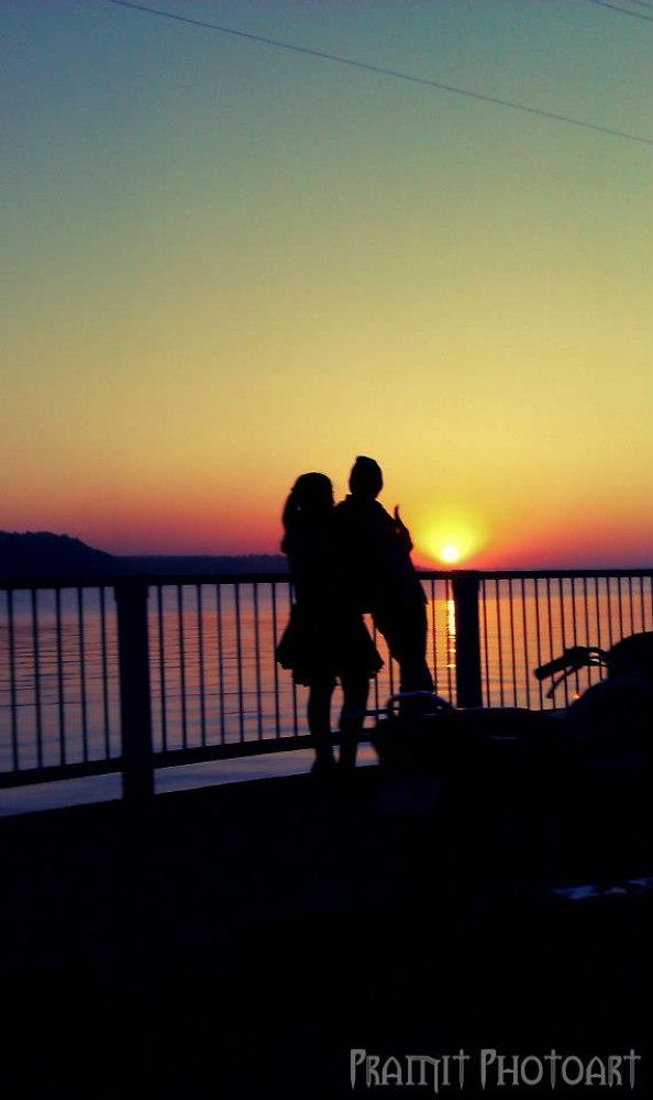 Photo in People #sunset #couples #marine drive #bhopal #india