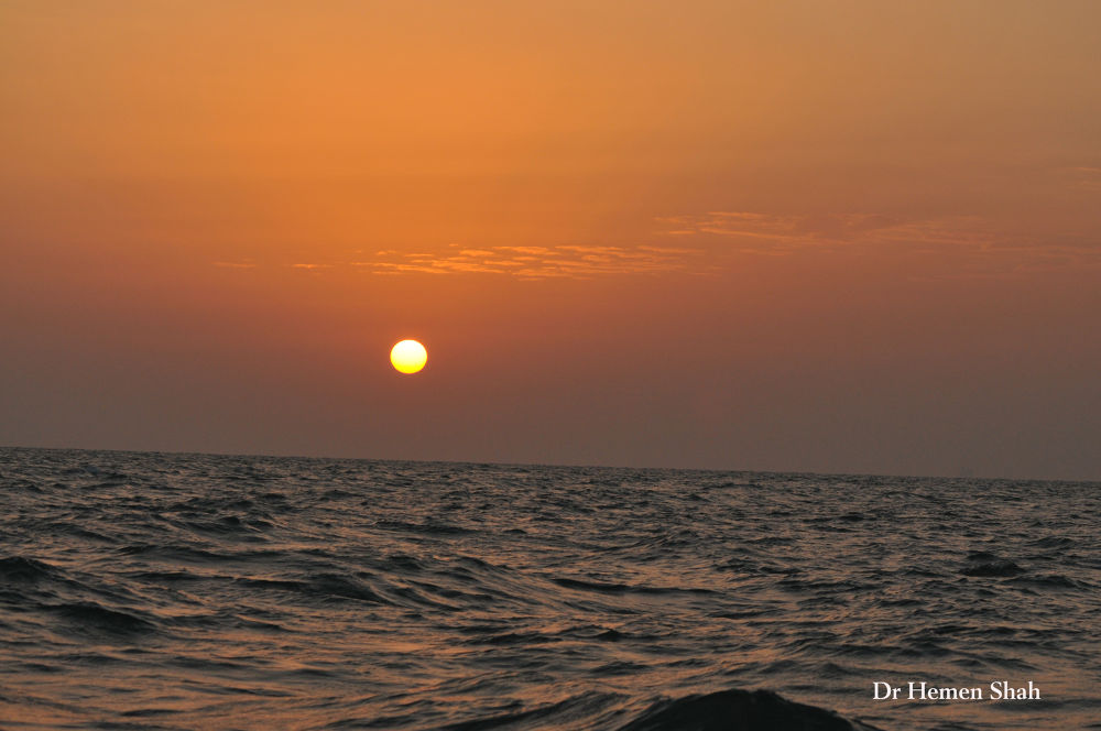 Sunrise In Gulf Of Kutch, India by Hemen