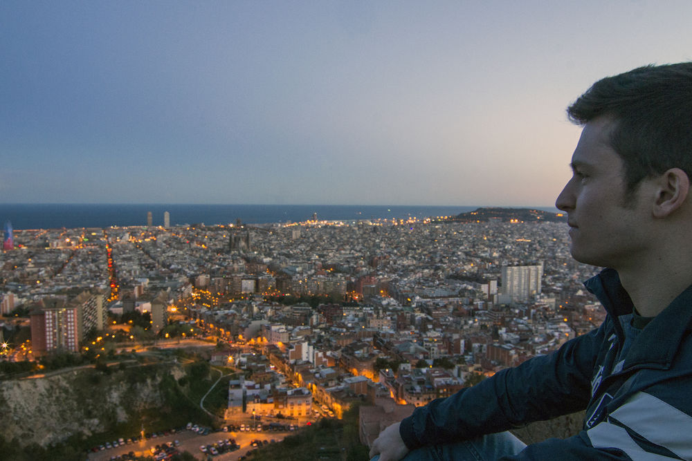 Lorenzo watching the sunset over Barcelona by Tomas Ferech