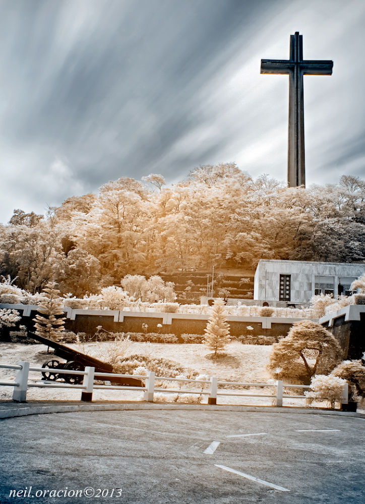 Bataan Shrine of Valor in false colors (infrared) by Neil