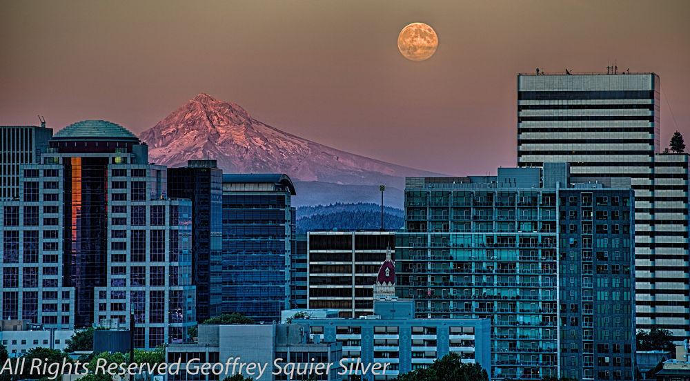 Portland, Moonrise- HDR by Geoffrey Squier Silver