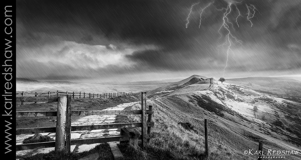Photo in Landscape #hill #mountain #tree #rain #storm #lightning #mam #tor