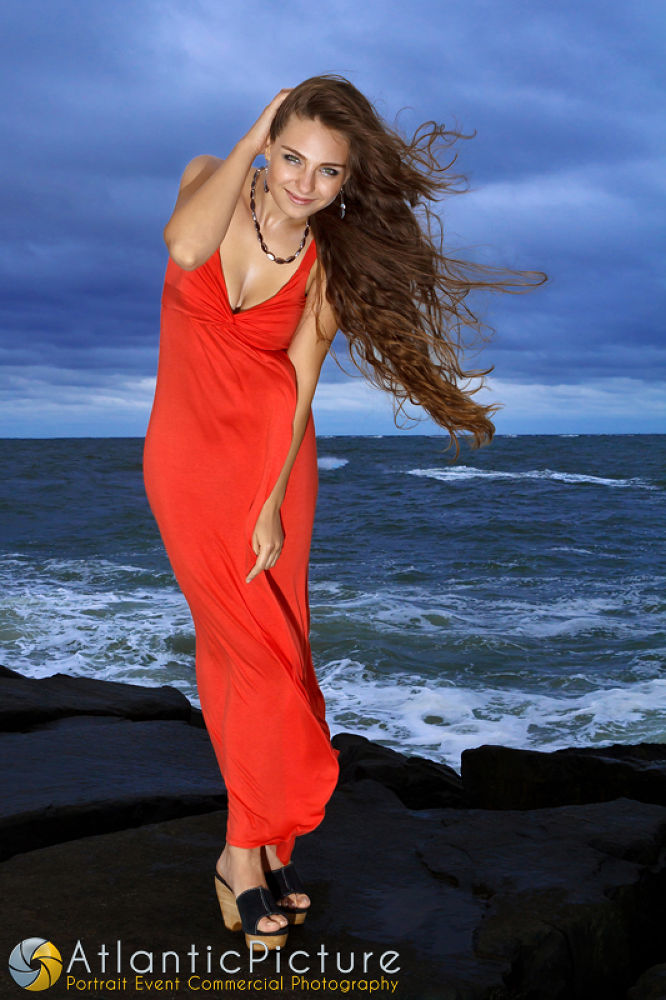 Photo in Portrait #girl #city #beautiful #photography #blue #woman #ocean #picture #long #stormy #weather #red #dress #portrait #event #model #maryland #commercial #cloudy #brunette #atlantic