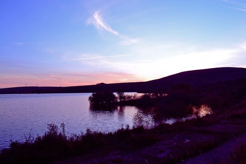 Photo in Landscape #water #sunset #clouds #purple #red #blue #watergrove #wardle #rochdale #vincent #yates