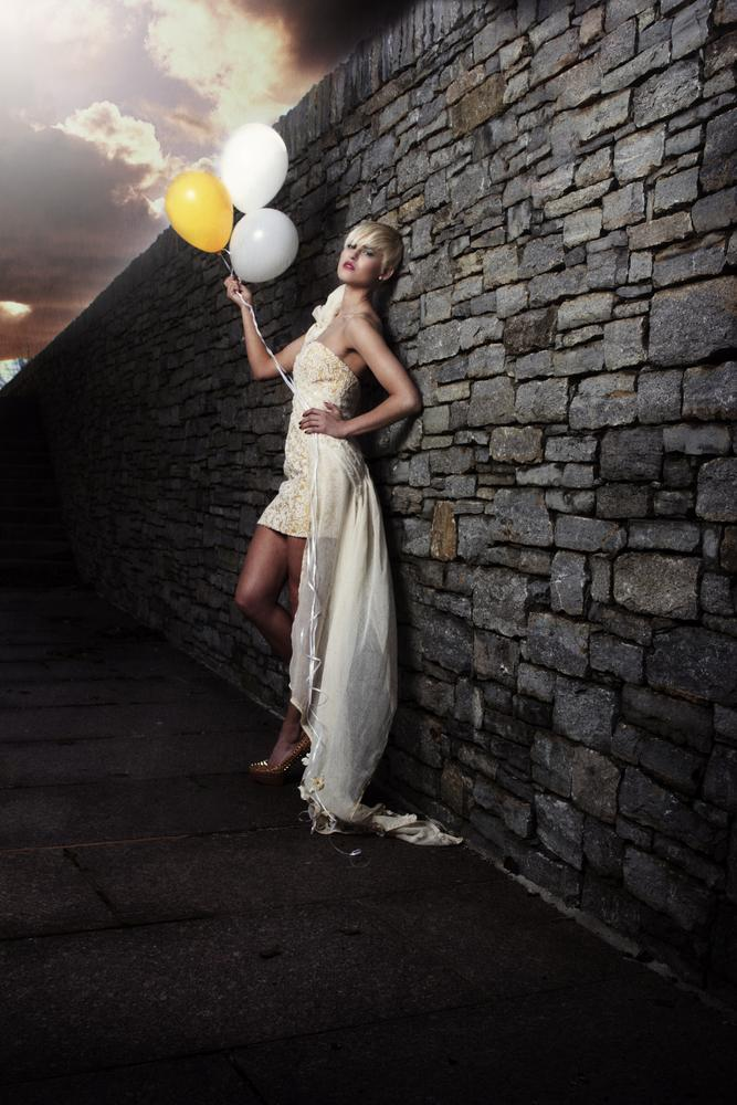 Photo in Fashion #wall #clouds #balloons #fashion #model #dress