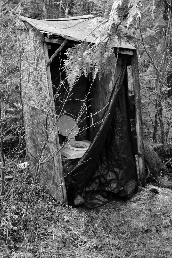 outhouse in bush by MoniqueTabensky Photography