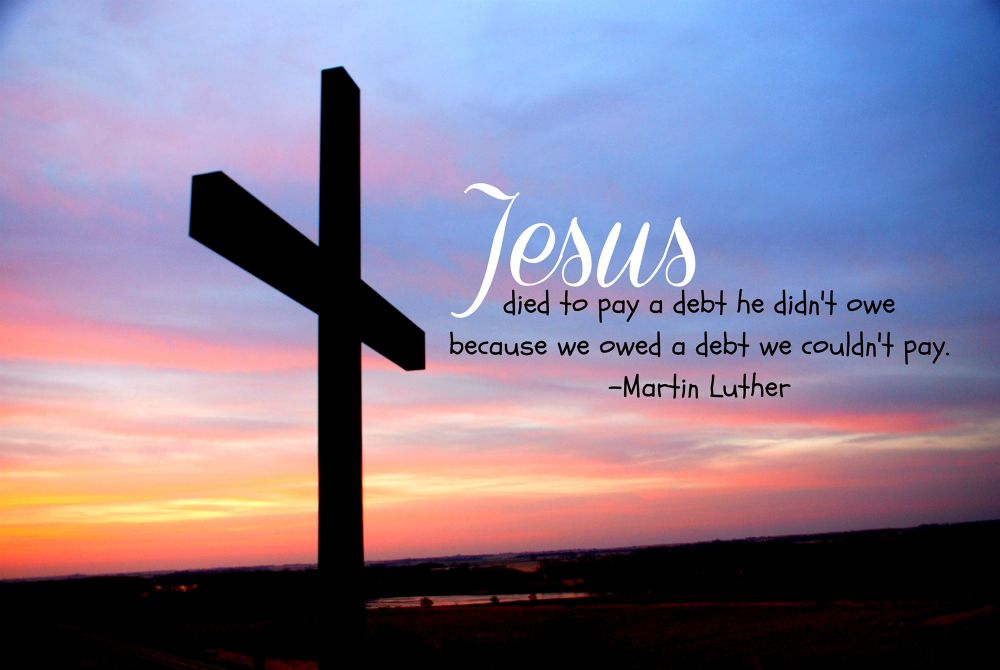 Cross on Hill at Sunrise with Martin Luther quote by Erin Theisen