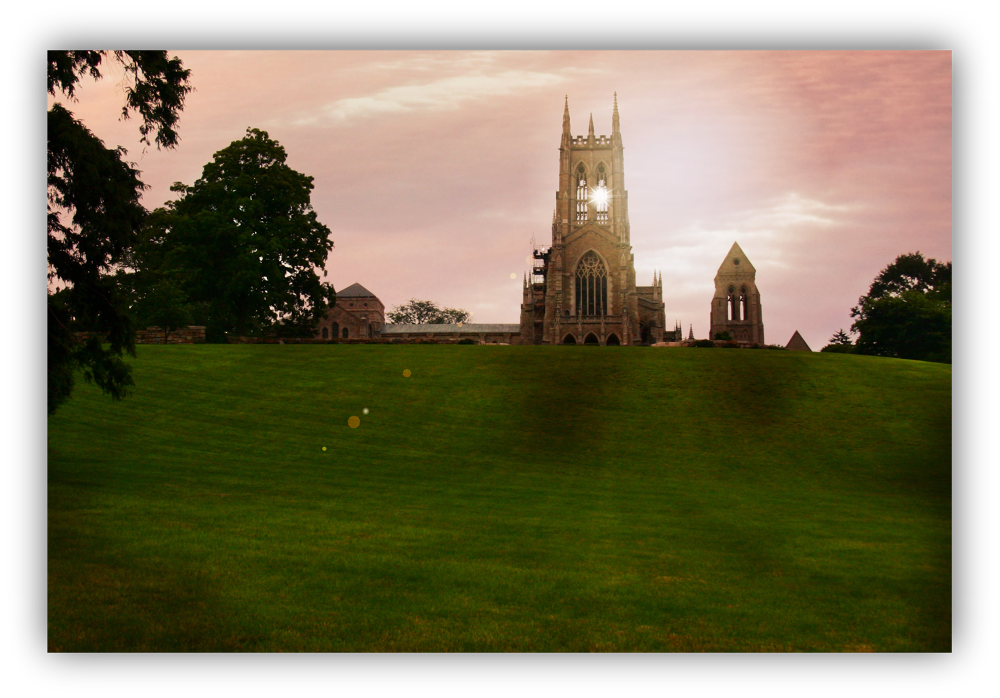 Bryn Athyn Cathedral, at sunset.. by valsvisions