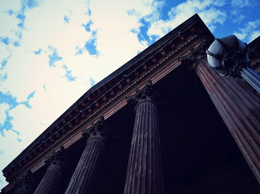 Photo in Architecture #sky #blue #building #art #pillars #old #lomo