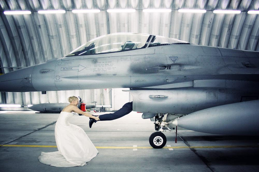 Photo in Wedding #wedding #weddings #bride #fun #funny #crazy #man #woman #girl #just married #married #plane #f16 #air #force #photoyoung #mateusz strelau #canon #poland