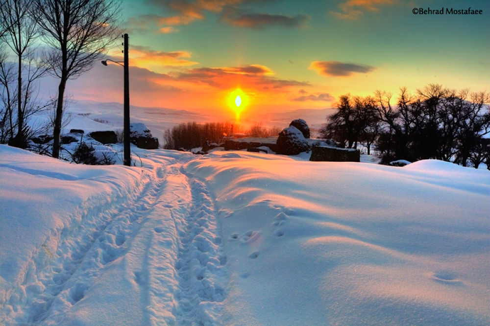 Snowy sunset by Behrad