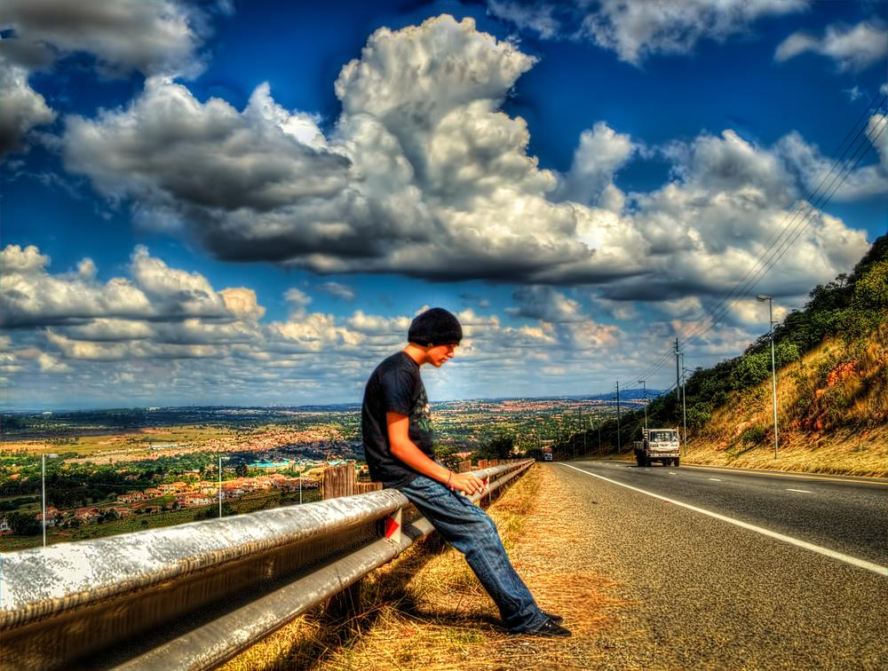 Photo in HDRI #hdr #freeway #boy #man #highway #road #clouds #scenary #beautiful #lonely #sky