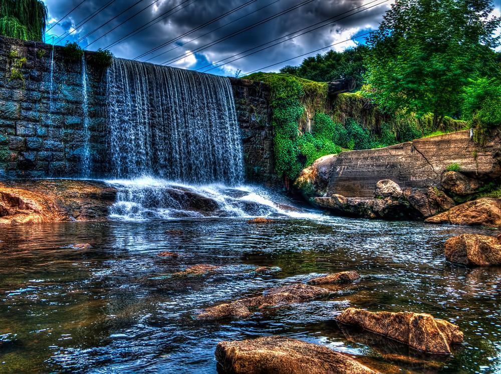 Photo in HDRI #hdr #water #waterfall #river #forest #sky #clouds #trees #nature #rocks #beautiful #splash