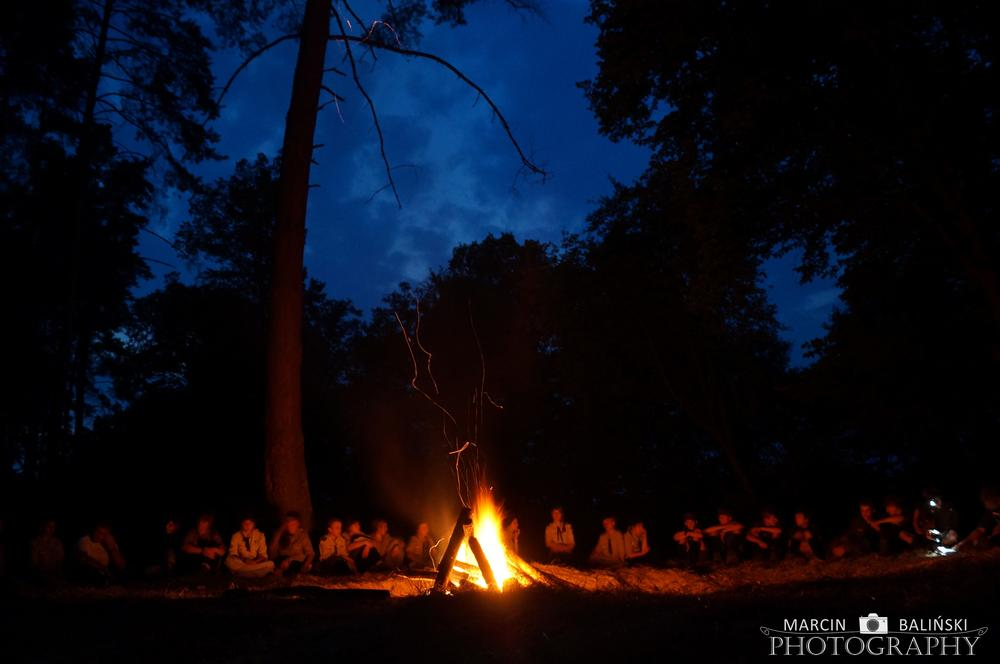 Photo in Landscape #scout #campfire #forest #night #light #fire