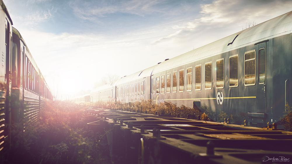 Photo in Vehicle #train #berlin #empty #urban #stuff #light #sun #sky #jordan #raw